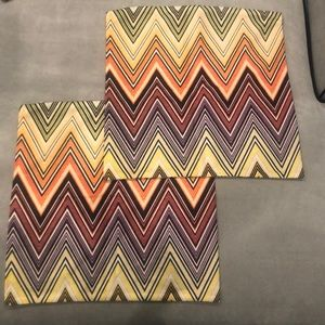 Two Missoni 17x17 Pillow Cases